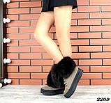 Шикарные зимние женские ботинки с песцовой опушкой, капучиновые, фото 4