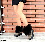 Шикарные зимние женские ботинки с песцовой опушкой, капучиновые, фото 5