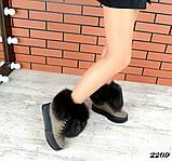 Шикарные зимние женские ботинки с песцовой опушкой, капучиновые, фото 6