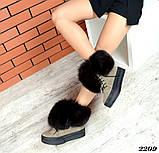 Шикарные зимние женские ботинки с песцовой опушкой, капучиновые, фото 7