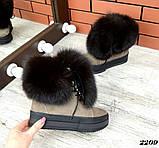 Шикарные зимние женские ботинки с песцовой опушкой, капучиновые, фото 8