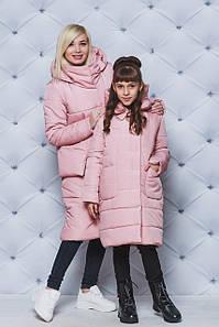 Пальто зимние для девочки персик