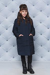Пальто зимние для девочки темно-синее