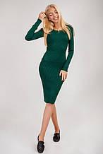 Платье в рубчик с круглым вирезом изумрудного цвета