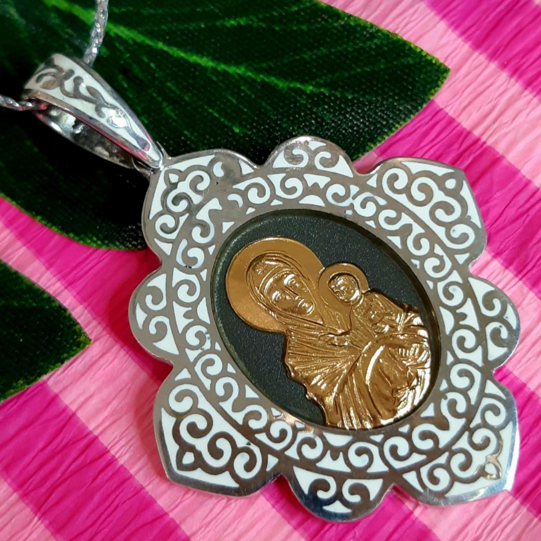 Срібний кулон-Озерянська ікона Богородиця - Срібний натільний ладанка Озерянська Божа Матір