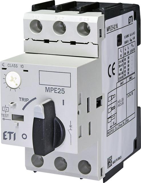 Автоматические выключатели для защиты двигателей MPE 25 ETI