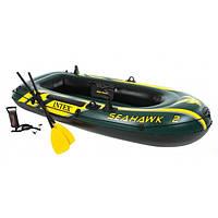 Двухместная надувная лодка Intex 68347 Seahawk 2 Set с веслами и насосом, 236х114х41