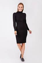 Черное теплое платье комбинированной вязки