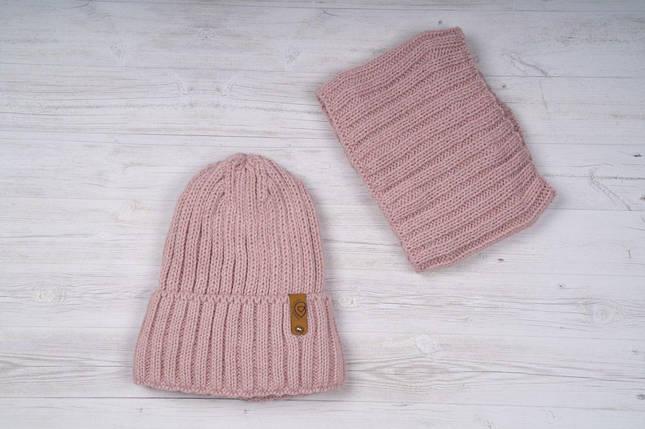 Рожевий набір шапка + хомут, фото 2
