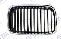 Решетка радиатора BMW 3 (e36) 1990-1996 правая хром, ребра черн. 180060992 без эмблемы