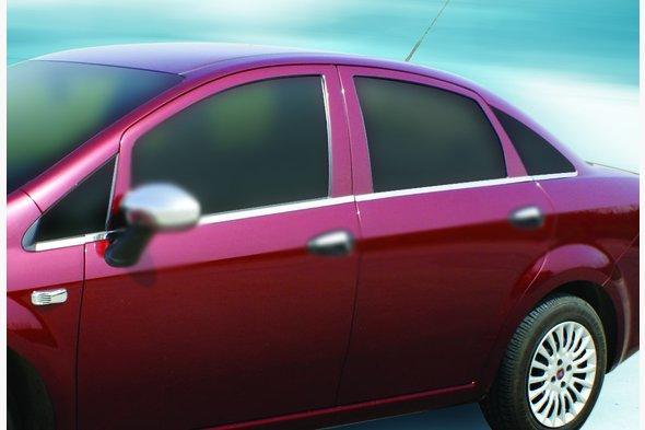 Наружняя окантовка стекол (8 част., нерж) Fiat Linea 2006↗ и 2013↗ гг.