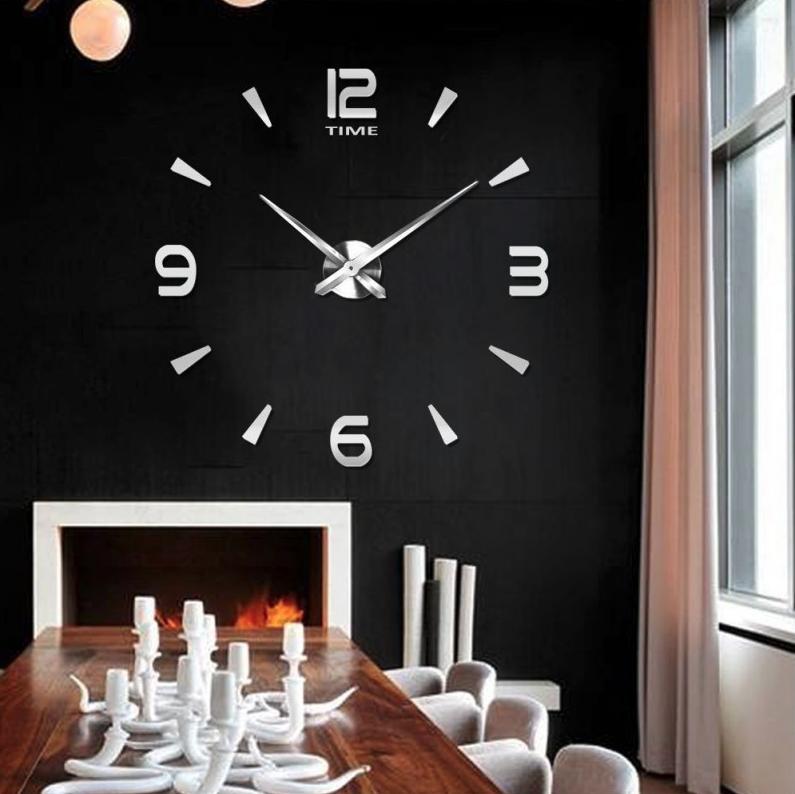 Большие настенные часы Арабские полосы Silver