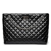 Женская стеганая сумка на металлической цепочке, черная, фото 1