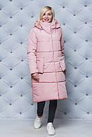 Женское зимнее пальто персик