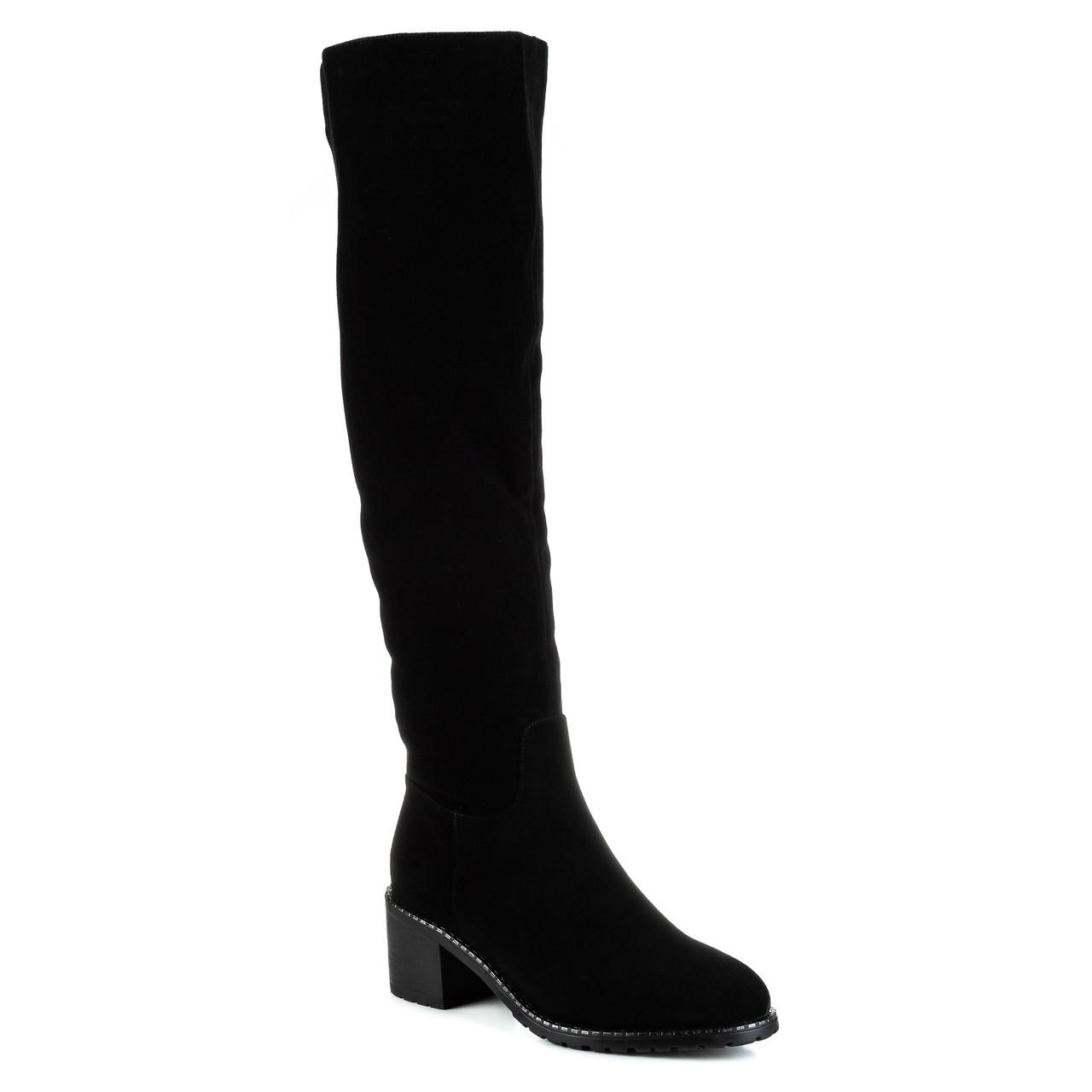 Ботфорты женские BROCOLI (черные, замшевые, лаконичный дизайн, удобные)