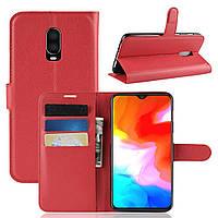 Чехол-книжка Litchie Wallet для OnePlus 6T Красный