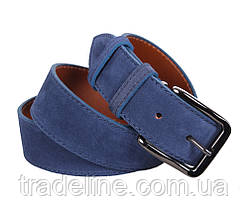 Мужской замшевый ремень Dovhani Z63-77 115-125 см Синий, фото 3