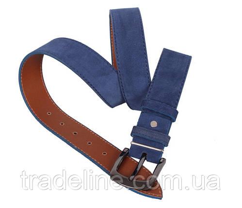 Мужской замшевый ремень Dovhani Z63-101 115-125 см Синий, фото 2
