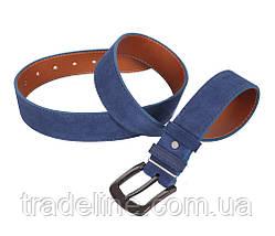 Мужской замшевый ремень Dovhani Z63-101 115-125 см Синий, фото 3