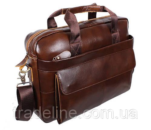 Мужская кожаная сумка Dovhani R0092 Коричневая , фото 2