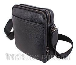 Чоловіча шкіряна сумка Dovhani DL411-41 Чорна, фото 2