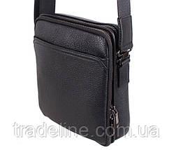 Чоловіча шкіряна сумка Dovhani DL411-41 Чорна, фото 3