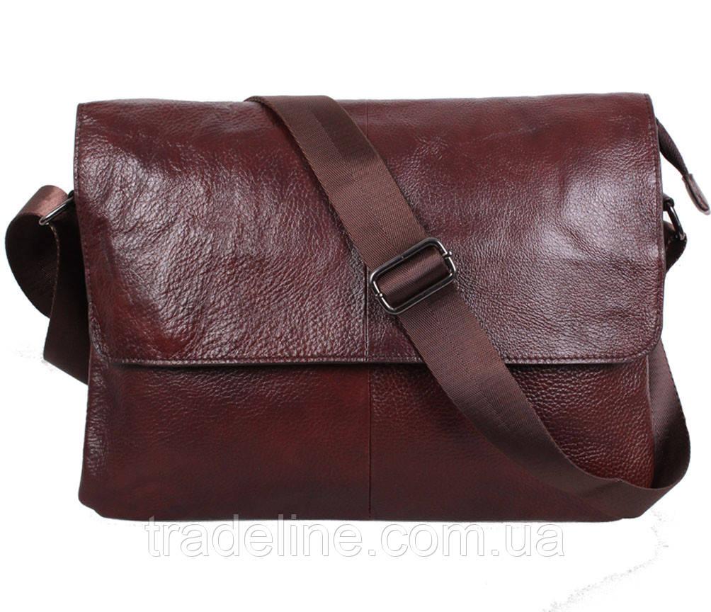 Мужская кожаная сумка Dovhani A4-98015 Коричневая 26 х 35 х 8см