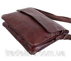 Мужская кожаная сумка Dovhani A4-98015 Коричневая 26 х 35 х 8см, фото 3