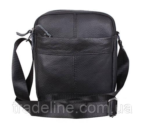 Мужская кожаная сумка Dovhani Dov-1025BL1 Черная 20 х 17 х 7-9см, фото 2