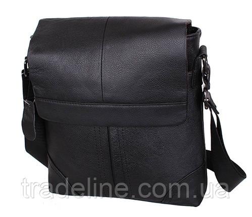 Мужская кожаная сумка Dovhani R0044 Черная Ш24хВ27хГ6-8 см, фото 2