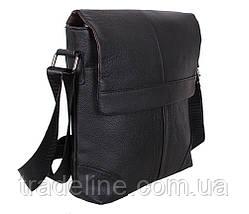 Мужская кожаная сумка Dovhani R0044 Черная Ш24хВ27хГ6-8 см, фото 3