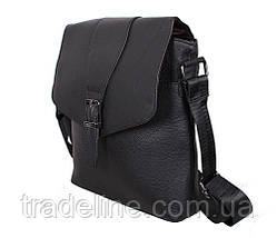 Мужская кожаная сумка Dovhani R0055 Черная Ш24хВ26хГ6-8 см, фото 3