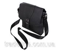 Мужская кожаная сумка Dovhani R0055 Черная Ш24хВ26хГ6-8 см, фото 2