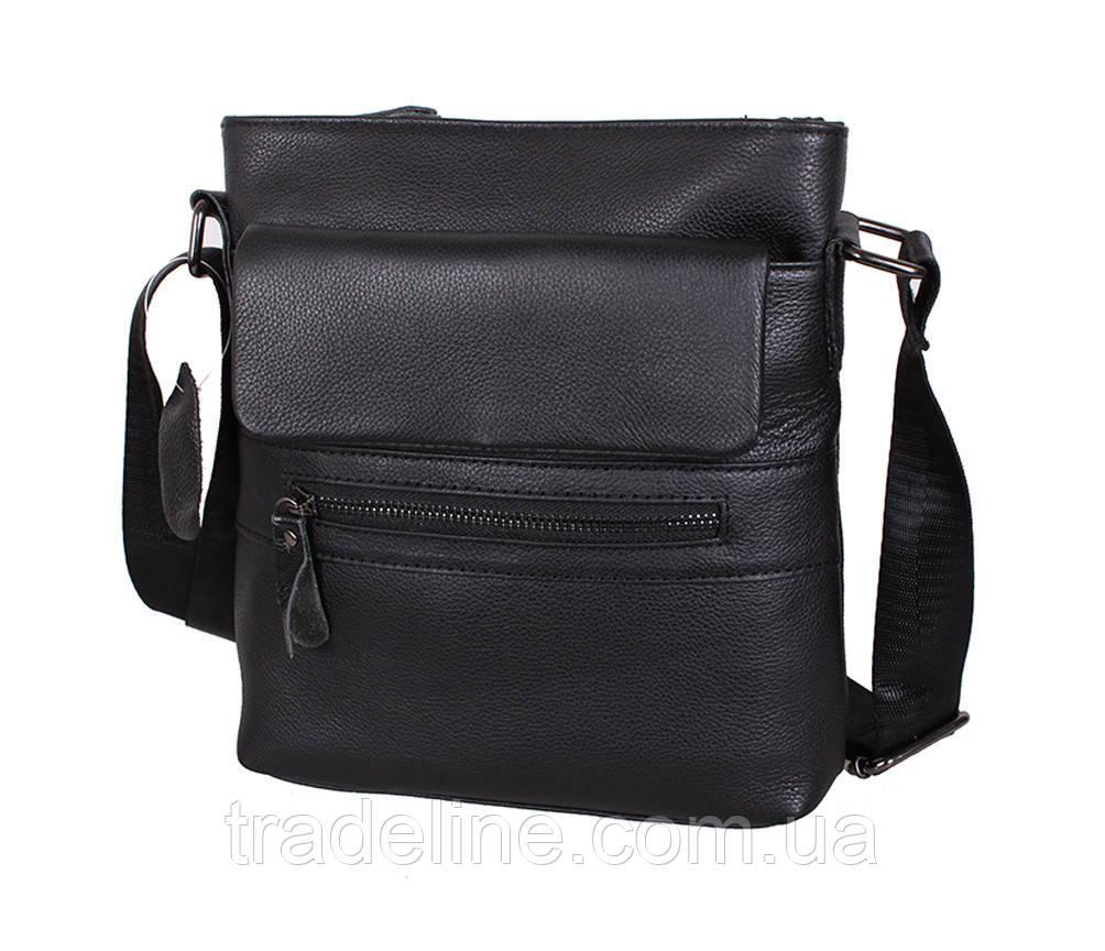 Мужская кожаная сумка Dovhani R0077 Черная Ш22xВ25xГ6-8см