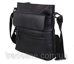 Мужская кожаная сумка Dovhani R0077 Черная Ш22xВ25xГ6-8см, фото 3