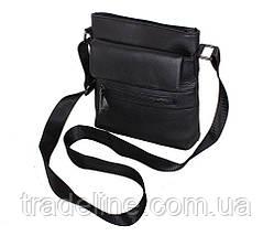 Мужская кожаная сумка Dovhani R0077 Черная Ш22xВ25xГ6-8см, фото 2