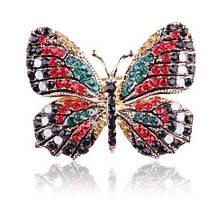 Брошь Бабочка стразы цветная