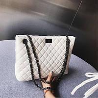 Женская стеганая сумка на металлической цепочке, белая, фото 1