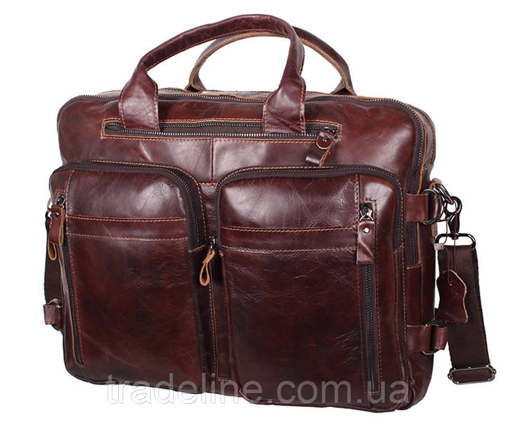Мужская кожаная сумка Dovhani PRE1710-12 Коричневая 39 х 21 х 10-17см