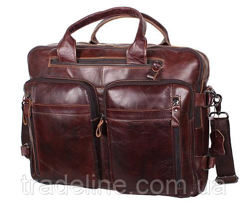 Мужская кожаная сумка Dovhani PRE1710-12 Коричневая 39 х 21 х 10-17см, фото 2