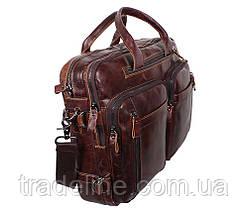 Мужская кожаная сумка Dovhani PRE1710-12 Коричневая 39 х 21 х 10-17см, фото 3