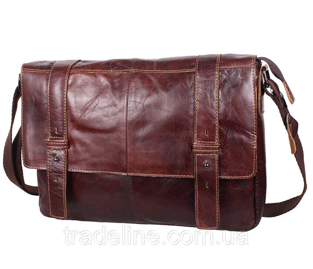 Мужская кожаная сумка A4 Dovhani PRE1862-15 Коричневая 35x26x7-9см