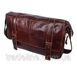Мужская кожаная сумка A4 Dovhani PRE1862-15 Коричневая 35x26x7-9см, фото 2