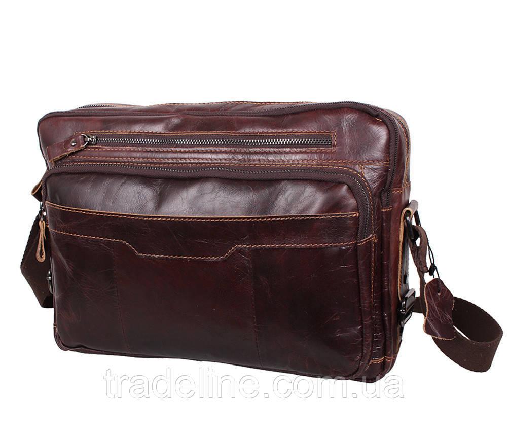Мужская кожаная сумка A4 Dovhani PRE18633 Коричневая 36x25x8-11см
