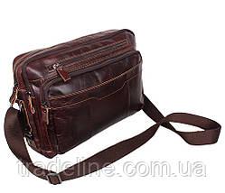 Мужская кожаная сумка A4 Dovhani PRE18633 Коричневая 36x25x8-11см, фото 2