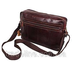 Мужская кожаная сумка A4 Dovhani PRE18633 Коричневая 36x25x8-11см, фото 3
