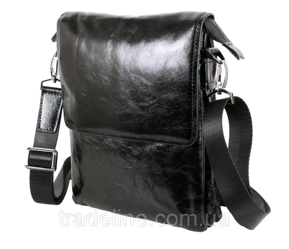 Мужская кожаная сумка Dovhani BLACK007-115 Черная 20 х 16,5 х 5 см