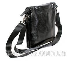 Мужская кожаная сумка Dovhani BLACK007-115 Черная 20 х 16,5 х 5 см, фото 3