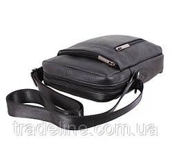 Мужская кожаная сумка Dovhani BL919595 Черная, фото 3