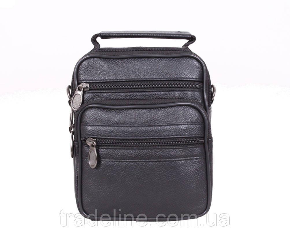 Мужская кожаная сумка Dovhani 1-501015 Черная 17.5 х 14 х 8см